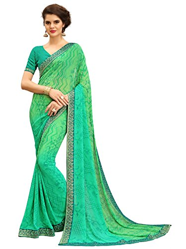 TAGLINE Faux Georgette Saree With Blouse Piece(Tag12007_Green Dark Free Size)