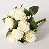 9 teste per mazzo del fiore fiore artificiale della Rosa Sposa azienda nozze Decor Bianco