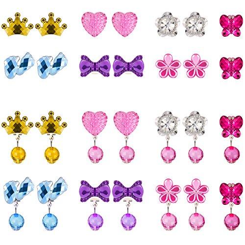 14 Pares de Pendientes de Cristal de Clip Pendientes de Niña Bisutería de Princesa y 14 Pares de Almohadillas de Pendientes en 2 Cajas Rosa