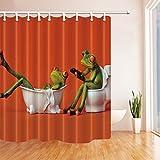 CDHBH Ganchos para cortina de ducha de una rana para inodoro, impermeables, 180 x 180 cm,...