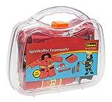 Idena 30121 - Spielkoffer Feuerwehr mit Jacke und Zubehör, ca. 30 x 27 x 8 cm