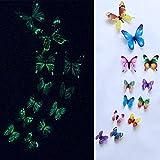 TAOtTAO 12pcs leuchtender Schmetterlings-Entwurfs-Abziehbild-Kunst-Wand-Aufkleber-Raum-magnetische Hauptdekor (Mehrfarbig)