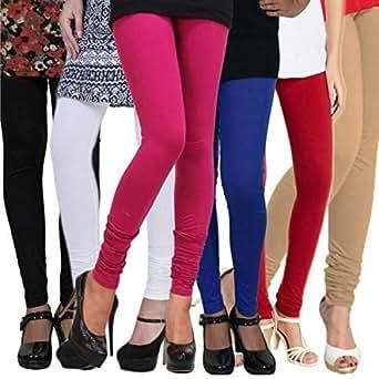 Sikhisewa Women's Cotton Leggings (leg635_Multicolour _Free Size) - Combo of 6