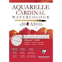 Clairefontaine Cardinal acuarela, color blanco, A3, 10unidades)