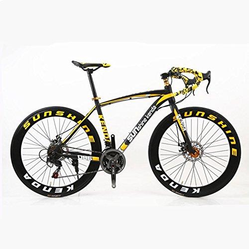 ZYPMM La nouvelle route vélo / 26 pouces 21 (24) (27) vitesse / VTT vitesse / M / disque double guidon de course ( Color : Jaune , Taille : 27 )
