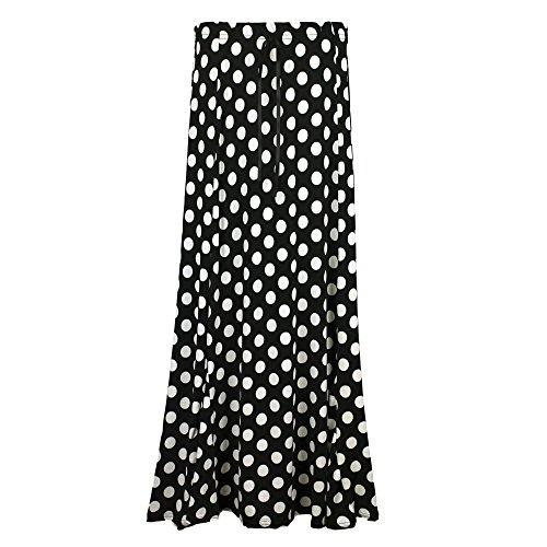 Damen Gypsy Rock Maxi Kleid New Jersey Sommer lang Festival Plus Größe 12–22 Gr. 46-48/XXX-Large, Schwarz mit weißen Punkten (Plus Größe Vintage-rock)
