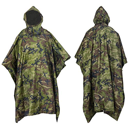 Nitehawk Camouflage Waterproof Hooded Poncho Outdoor Camping Hiking Rain Cover
