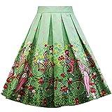 MIRRAY Damen Mädchen Weihnachten Vintage Röcke A-Linie Moderne Hohe Taille Gedruckt Plissee Ausgestelltes Kleid Jahrgang Midi Rock