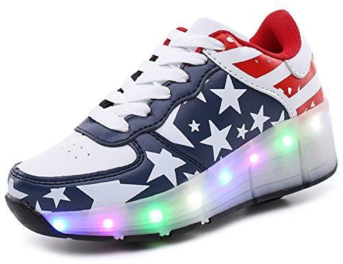 ECOTISH-Nios-LED-Zapatilla-con-ruedas-Deporte-Patn-ruedas-Luminoso-Formadores-Flying-LED-Zapatos-con-ruedas-Nias-Zapato-Para-Caminar