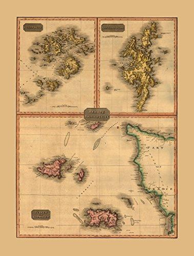 Antike Landkarte der britischen Inseln (Jersey, Guernsey, Shetland-Inseln und die Scilly-Inseln) von John Pinkerton, Nachdruck, 33 x 46 cm -