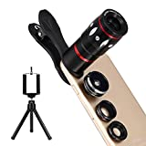 Handy Kamera Set 4 in 1 Universal Clip-on Handy Objektiv Kit Fisheye Objektiv + Mini Stativ + Optisches Zoom Teleobjektiv + Makroobjektiv + Weitwinkelobjektiv für IPhone Samsung Galaxy Galaxy Note Huawei und andere Handys oder Tabletten, Schwarz