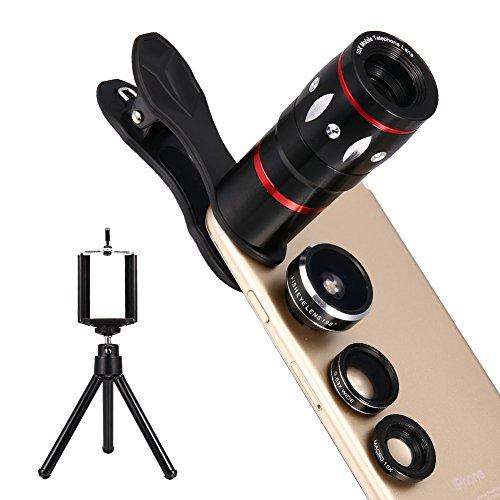 Hihoddy Fisheye Objektiv Set Clip-On Kamera Adapter 4 in 1 Linsen Set mit Mini Stativ für Smartphones oder Tablet (Fisheye Objektiv, Teleobjektiv, Makroobjektiv, Weitwinkelobjektiv)