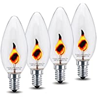 4 x 3w Flicker Flame Candle Light Bulb E14