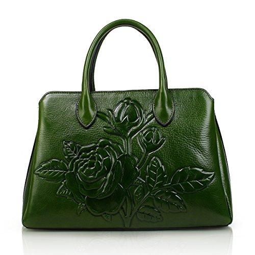 APHISON Damen Prägedruck Lederhandtasche Handtaschen Leder Schultertaschen Tote Shopper Taschen Henkeltasche Umhängetasche Schulterbeutel (Grün)