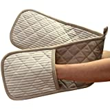Ideal Textiles, Beige Double Oven Gloves, Windsor Stripe, Heat Resistant, 100% Cotton, Extra Thick, Oversized