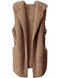 Chaleco de Mujer Invierno cálido Felpa sin Mangas Chaleco Chaqueta con Capucha Chaqueta Casual