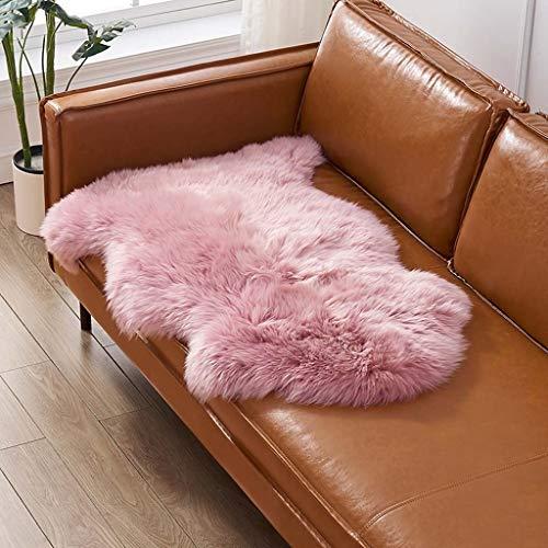 YXNN Natürliches Lammfell, Lammfell Bereich Teppich Fluffy Bodenmatte for Die Schlafzimmer Wohnzimmer Kinderzimmer Furry Teppich for Stühle Werfen Hocker Couches (Color : Pink, Size : 60x180cm) -