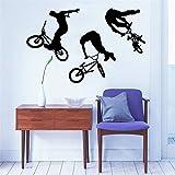 Cmdyz Kunst Wohnkultur Wandbild Jump Bike Radfahrer Bmx Freestyle Springen Wandtattoo Extreme Sport Wandaufkleber Jungen Zimmer Vinyl Größe 55 * 88 Cm