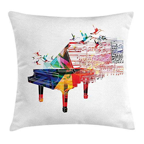 BUZRL Piano Throw Pillow Cushion Cover, Colorful Piano Design with Flying Hummingbirds and Clef with Notes Fantastic Melody, Decorative Square Accent Pillow Case, 18 X 18 inches, Multicolor