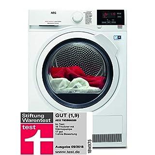 AEG T8DB66580 Wäsche-/ Wärmepumpentrockner / 235 kWh pro Jahr / 8 kg / Weiß / Bewegungs- und Mengenautomatik / effektive Trocknung durch Woll-, Seiden- und Outdoortrockenporgramm