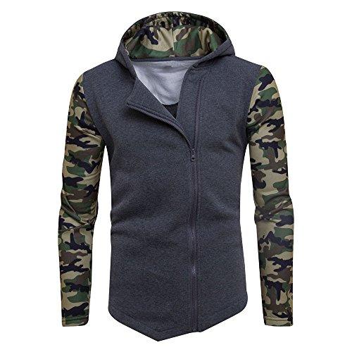 Kinlene Winter Camouflage Zipper Hoodie Kapuzenpulli Mantel Jacke Outwear Herren