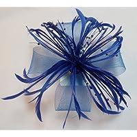 Large Blue Beaded Net Bow & Feather Fascinator On Beak Clip Brooch