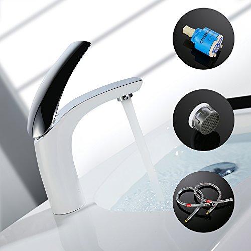 Homelody Weiss Waschtischarmatur für bad Wasserhahn Waschtisch Armatur Waschbeckenarmatur Mischbatterie Waschbecken Einhebelmischer Badarmatur Elegant -