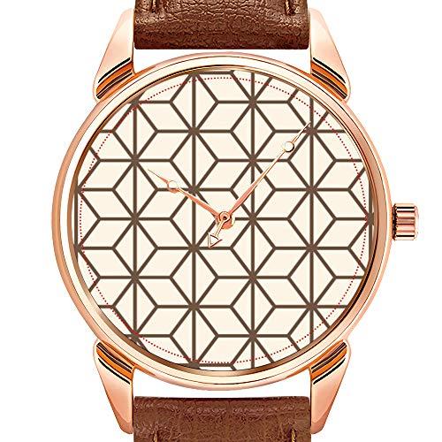 Herrenuhren Fashion Luxury Quarzuhr Business Waterproof Luminous Watch Herrenuhr aus braunem Leder Brown Abstract Globe Wrist Watch (Globe Bild)