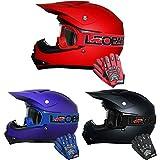 Leopard LEO-X15 Kinder Kinder MOTOCROSS Motorrad HELM & HANDSCHUHE & GOGGLES Mattschwarz L (53-64cm)