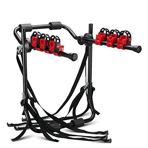 Soporte de Bicicleta para Maletero del Coche Portabicicletas Trasero (Carrier Hatchback Bike Plegable Rack, con Correas, Transporte sus bicicletas fácilmente)