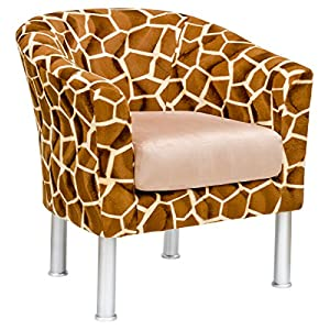 Febland Vittoria Tub Chair in Giraffe Fabric, Brown, 72x70x77 cm