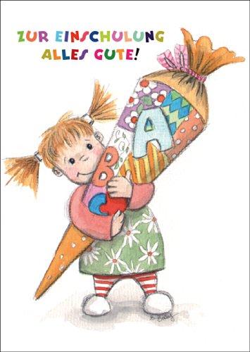 Zur Einschulung alles Gute! Niedliche Glückwunschkarte für ABC Schützen Mädchen • auch zum direkt Versenden mit ihrem persönlichen Text als Einleger.
