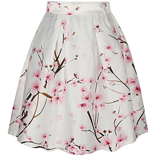 Frauen Fashion Print Galaxy A-linien Röcke Retro Elegant Faltenrock Minikleider Vintage Damen Skirts (S/M, Peach blossom) (Teens Tanz-socken)