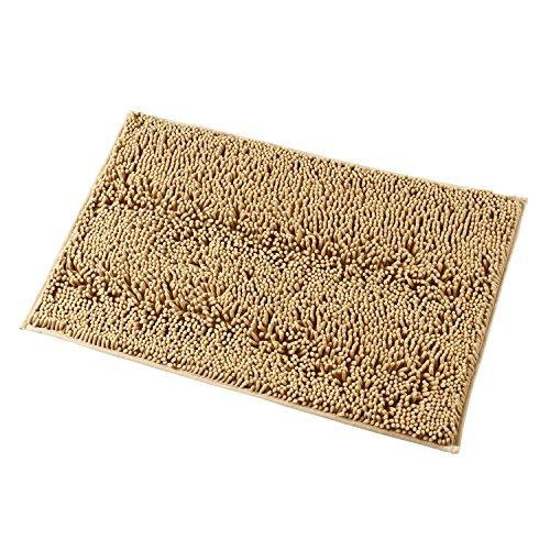 Mayshine 50x80 cm Beige Alfombra antideslizante para Baño Chenille Tepete lavable en la Lavadora Alfombrilla antideslizante Microfibras suaves Agua absorbente