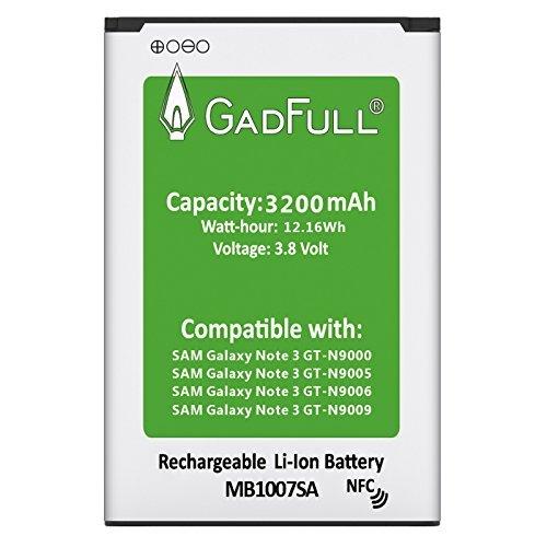 GadFull® Akku für Samsung Galaxy Note 3 | Entspricht dem Original EB-B800BE Lithium-Ionen-Akku der Modelle GT-N9000 | GT-N9005 | GT-N 9006 | GT-N9009 | Ersatz Handy-Akku für Ihr Smartphone | Perfekt als Ersatz-Akku