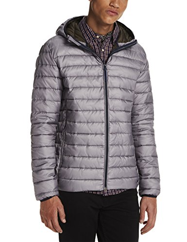 Scotch & Soda Herren Kapuzenpullover Classic Quilted Hooded Jacket in Nylon Quality, Grau (Grey 25), Medium