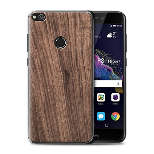 Stuff4® Hülle/Case für Huawei P8 Lite (2017) / Nussbaum Muster/Holz/Holzmaserung Muster Kollektion -