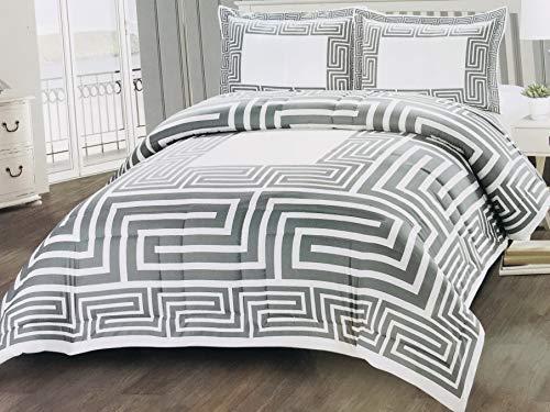 Deko-König 3 teiliges Versus Tagesdecke Set Bettdecke Bettüberwurf (Weiß-Silber)