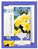 Feste Feiern zur Konfirmation I 5 Teile Danksagung Karten Doppelkarten mit Briefumschlägen I Blumen Pokal mehrfarbig I Danksagungskarten Konfirmation