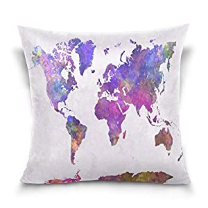 ALAZA manta funda de almohada Funda de cojín (cuadrado funda de almohada, Watercolor mapa del mundo sofá cama cubierta de la funda de almohada 2lados