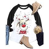 TianWlio Frauen Langarmshirt Bluse Hoodie Pullover Langarmshirt Kapuzenpullover Sweatshirt Herbst Langarm Weihnachten Hirsch Print Rundhals Bluse Lose Tops