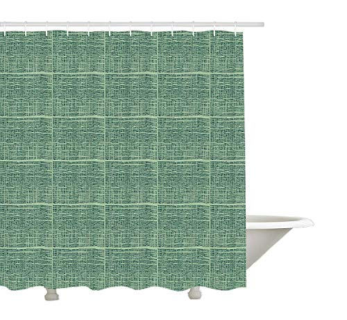 GWFVA Tenda di Doccia orientali Verde, pennellate Texture Stencil Tradizionale Giapponese, Tessuto di Stoffa Arredo Bagno con Ganci, Hunter Verde e Verde Pallido