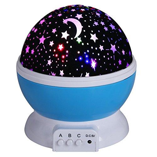 Star Led-licht (Projektor Lampe Star Schlafzimmer Licht Nachtlicht Sternenhimmelprojektor Beleuchtung mit 4 LED drehbar romantisch entspannende Stimmung für Baby von Discoball® no plug (Kein Stecker)(Blau))