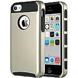iPhone 5c Hülle, ULAK Dual Layer Hybrid Schutzhülle Hart PC + TPU Weiche Stoßfest Tasche Case Cover für Apple iPhone 5c (Champagne Gold + Schwarz)
