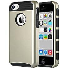 Carcasa iPhone 5c, ULAK Funda doble capa del silicona de alta resistencia del Carcasa de Shell para el iPhone 5c con Protector de pantalla (Oro + Negro)