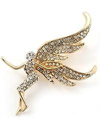 Broche ''hada'' cubierto de cristales claros enchapado de oro