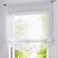 Romano sombra ventana cortina bordado de flor cortina visillos con trabilla ajustable mediante cinta, para salón, dormitorio o cocina moderna (140*140cm, blanco)