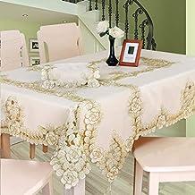 XHC Mantel de algodón Mantel Bordado para el hogar Manteles rectangulares/Cuadrados para restaurantes (