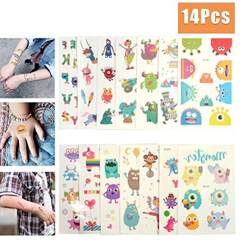 WOWOSS 14 Blatt Monsters Piraten Tattoo Set Kinder Tattoos Aufkleber für Jungen Mädchen Kinder Spielen Mitgebsel Kindergeburtstag Gastgeschenke Taschen Füller (Kindes Monster Kostüm Muster)