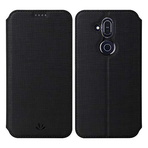 Feitenn Nokia 8.1 Hülle, Premium PU Leder Tasche Wallet Flip Case Schutzhülle mit Kartenfächer Standfunktion PU Cover TPU Bumper Magnetisch Stand Cover Case für Nokia 8.1 (Nokia 8.1, Schwarz)